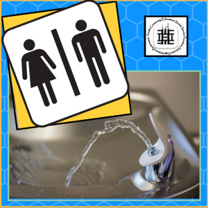 Bathroom Sign and Water Fountain