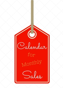 Calendar for monthly sales