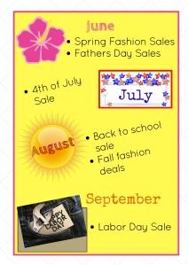 July- September Shopping Calendar